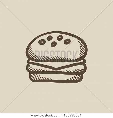 Hamburger vector sketch icon isolated on background. Hand drawn Hamburger icon. Hamburger sketch icon for infographic, website or app.