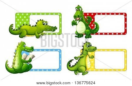 Polkadot labels with crocodiles illustration