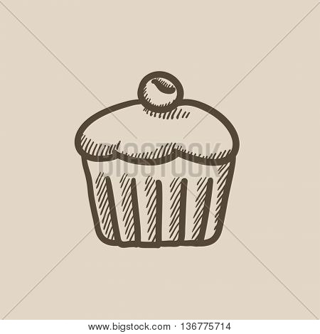 Cupcake with cherry vector sketch icon isolated on background. Hand drawn Cupcake with cherry icon. Cupcake with cherry sketch icon for infographic, website or app.