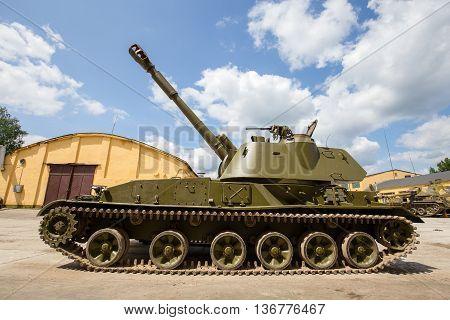ZHITOMIR UKRAINE - MAY 23 2016 : Russian battle tank close up: self-propelled armored artillery howitzer 122mm howitzer 2C1 Gvozdika