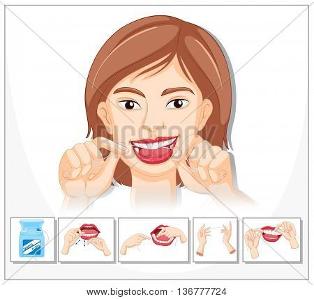 Flossing technique in sequence illustration
