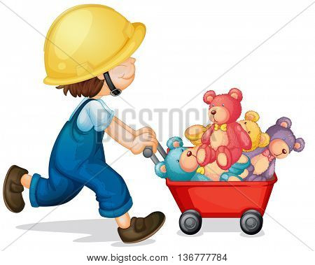 Boy pushing cart full of teddy bears illustration