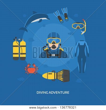 Diving Concept With Diver Man
