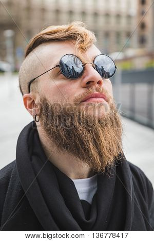 Stylish Bearded Man Posing In The Street