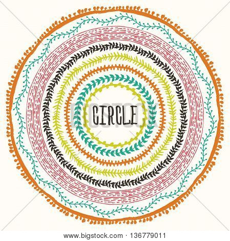 Hand drawn Boho style frame with a place for your text. Circle Boho wreath for invitations, save the date or wedding card design. Yoga Meditation Logo Graphic. Vector illustration