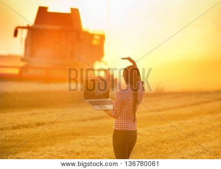 Girl With Laptop And Combine Harvester
