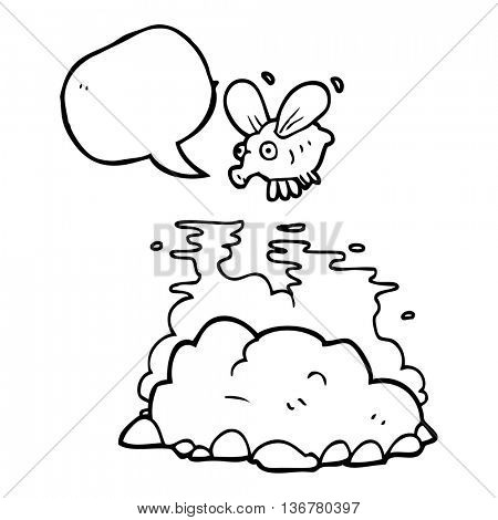 freehand drawn speech bubble cartoon fly and manure