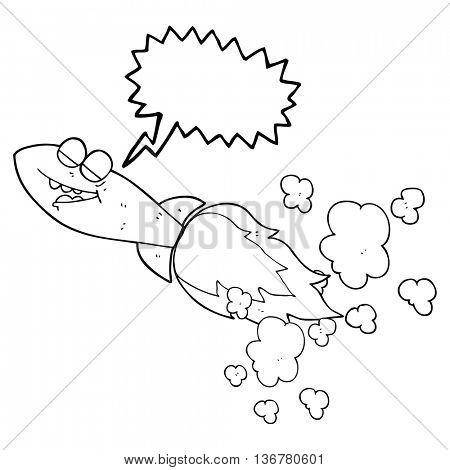 freehand drawn speech bubble cartoon missile