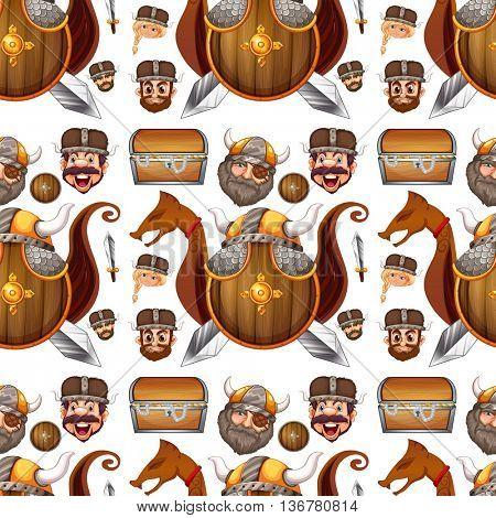 Seamless background design with viking theme illustration