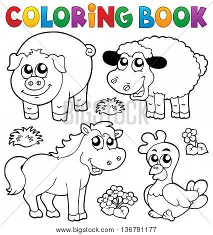 Coloring book with farm animals 5 - eps10 vector illustration.