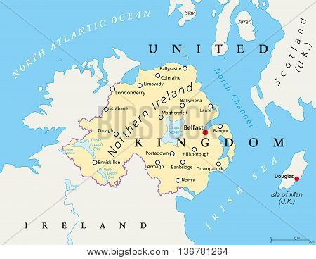 Northern Ireland political map with capital Belfast, national border and cities. Part of the United Kingdom in the northeast of the island. English labeling and scaling.
