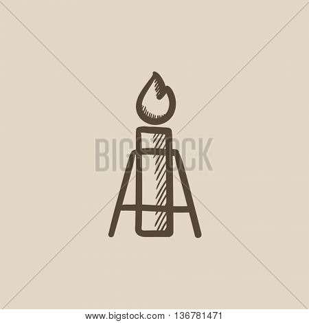 Gas flare vector sketch icon isolated on background. Hand drawn Gas flare icon. Gas flare sketch icon for infographic, website or app.