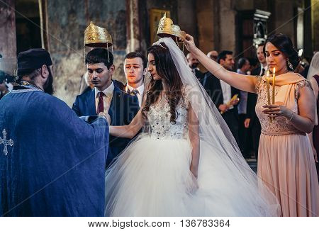 Mtskheta Georgia - July 18 2015. Georgian couple gets married in Svetitskhoveli Cathedral in Mtskheta city