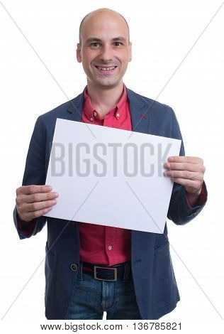 Handsome Bald Man Showing Blank Signboard