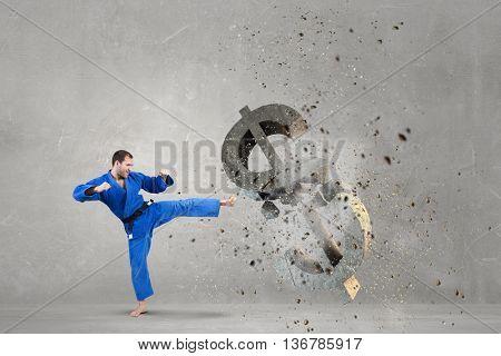 Karate man attack dollar . Mixed media