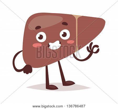 Human liver harm disease. Fatty liver fibrosis hepatitis cirrhosis of alcohol harm vector illustration. Lifestyle problem unhealthy alcohol harm can cause liver damage social cartoon concept.