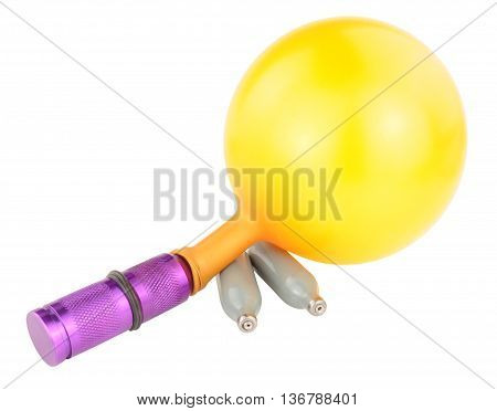 Nitrous oxide legal high equipment including canisters and balloon isolated on a white background
