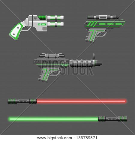 Guns set. Video game weapons. Virtual reality device collection. Light swords. Vector illustration