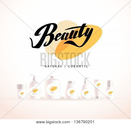 Vector cosmetic insignia isolated on white background. Eco product brand mark. Cosmetic label design template. Cosmetic beauty logo.Different cosmetic products. Bottle, tube, can, comb, spay, package.