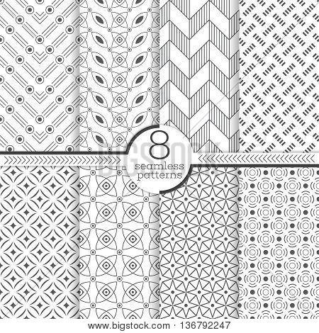 Set of eight seamless patterns. Modern stylish textures. Regularly repeating geometrical patterns with different geometric shapes. Abstract small textured surfaces.