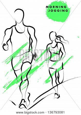 Vector hand drawn active people sketch isolated on white background. Running man silhouette. Ink drawing. Sportsman figure. Human jogging. Brush stroke, contour drawing. Artistic sport logo element.