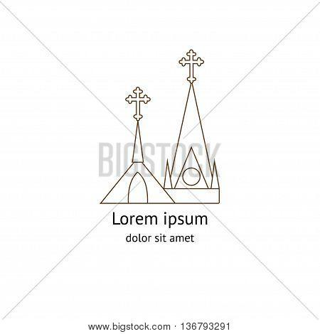 Template logo church as the catolic church on white background . Church house logo