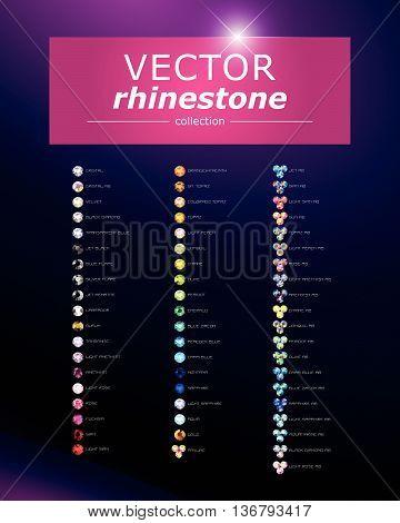Vector rhinestone gem mock up. Jewelry crystal stone diamond shining illustration. Close up. Rhinestone isolated. Gradient soft light. Glass gem mock up illustration. Jewelry advertising, pattern element