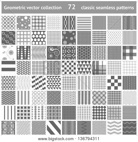 72 classic geometric seamless patterns set. Polka dots stripe checkered geometric traditional patterns collection. Can be used for scrapbooking web site background greeting card template etc.