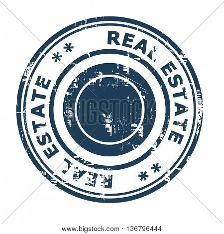 Real estate business concept rubber stamp isolated on a white background.