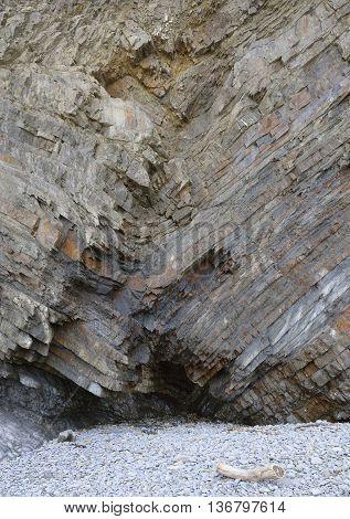 Folded Rock Strata & Cave Welcombe Mouth Beach Hartland Peninsula North Devon Coast