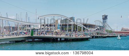 BARCELONA SPAIN - JULY 09 2014: Marina Port Vell and the Rambla del Mar in Barcelona Catalonia Spain on July 09 2014.