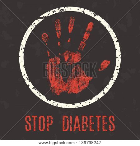 Conceptual vector illustration. Human diseases. Stop diabetes.