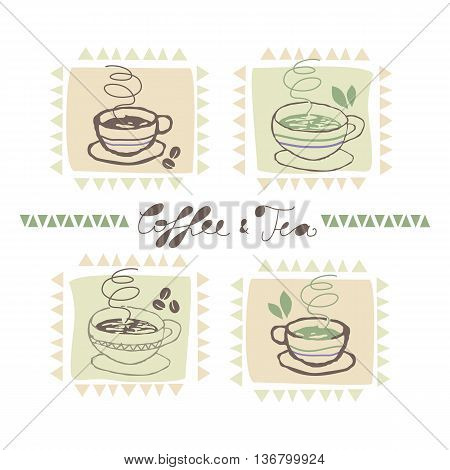 Decorative cute set with coffee and tea cups