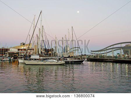 Marina Port Vell And The Rambla Del Mar,barcelona,  Spain