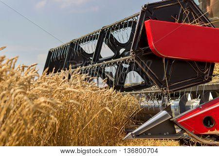 Combine harvester close up. Combine harvester harvesting wheat. Grain harvesting combine. Combine harvesting wheat. Wheat field blue sky. Close-up view of combine.