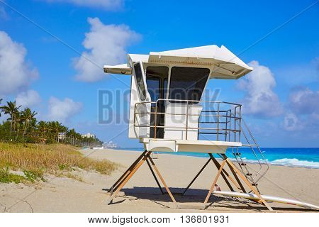 Palm Beach beach baywatch tower in Florida USA