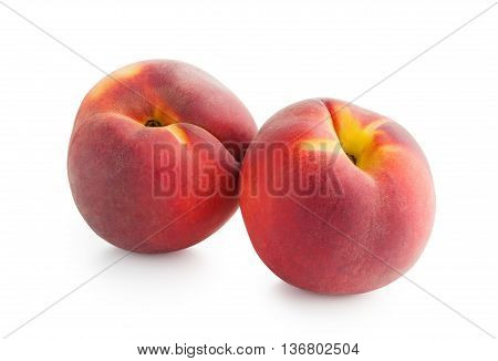 Peaches. Ripe fresh peaches isolated on white background