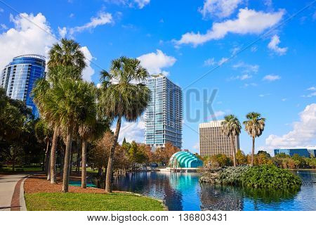 Orlando skyline from lake Eola in Florida USA