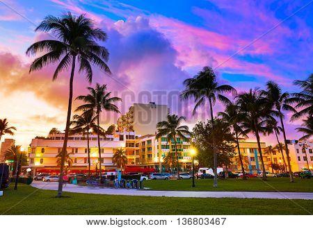 Miami Beach South Beach sunset in Ocean Drive Florida Art Deco