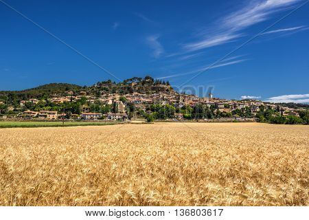 The hill top village of Cadennet in the Luberon Provence