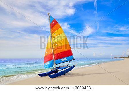 Florida Fort Myers beach catamaran sailboat in USA