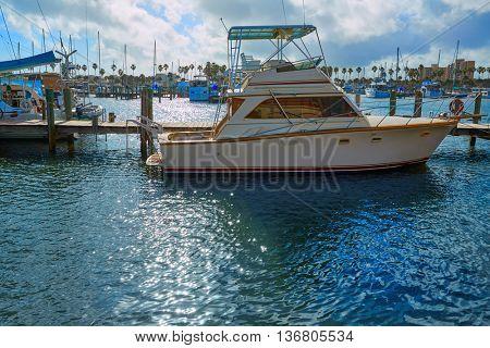 Daytona Beach in Florida marina boats at Halifax river USA US