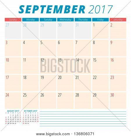 September 2017. Calendar Planner For 2017 Year. Week Starts Sunday. Stationery Design. 3 Months On P