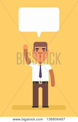 Man with hand up. Attention. Word cloud. Colored flat vector illustration on yellow background