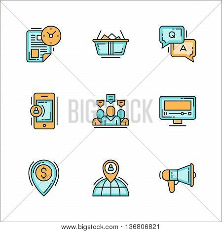 Icons with business related staff means of communication. Colored flat vector illustration. Icons isolated on white background. Time management schedule diary dialogue team technology TV money location worldwide announcement