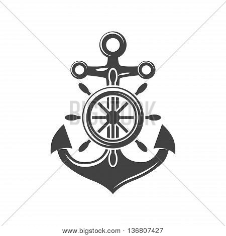 Ship steering wheel and anchor. Black icon logo element flat vector illustration isolated on white background.