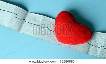 Electrocardiogram graph and heart shape ekg heart rhythm medicine concep