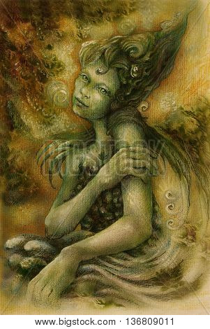 magical beautiful water elven fairy, colorful drawing. poster