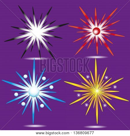 Four large bright star vector illustration Vector illustration of four large bright star on a purple background with a shadow for the Decoration and Design