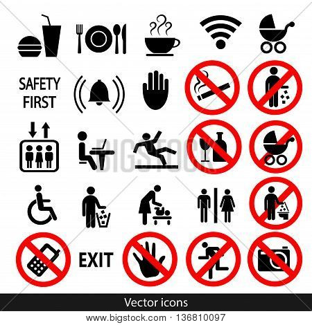 Set of black vector icons. Stock Illustration.
